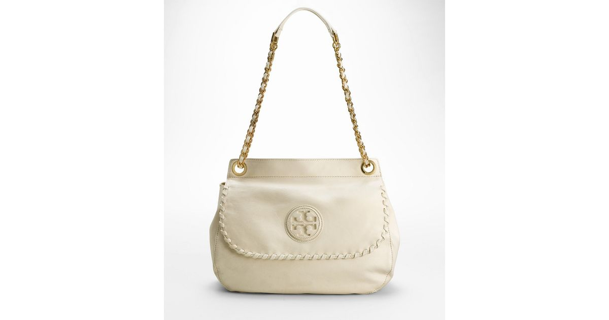 3ec874e3de03 Lyst - Tory Burch Marion Saddle Bag in White