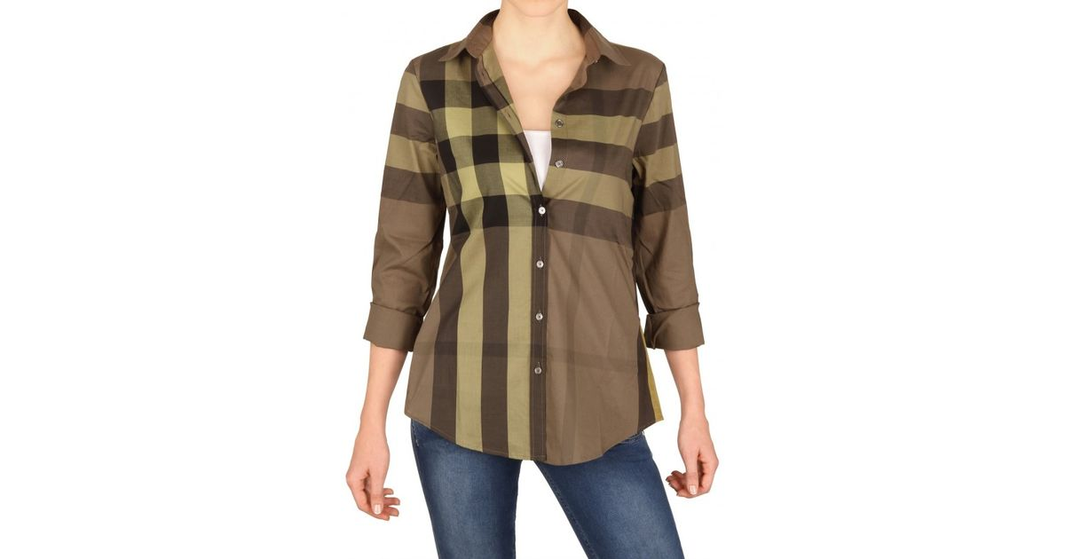 9a6f49e4284a Lyst - Burberry Brit Giant Exploded Check Cotton Voile Shirt in Natural