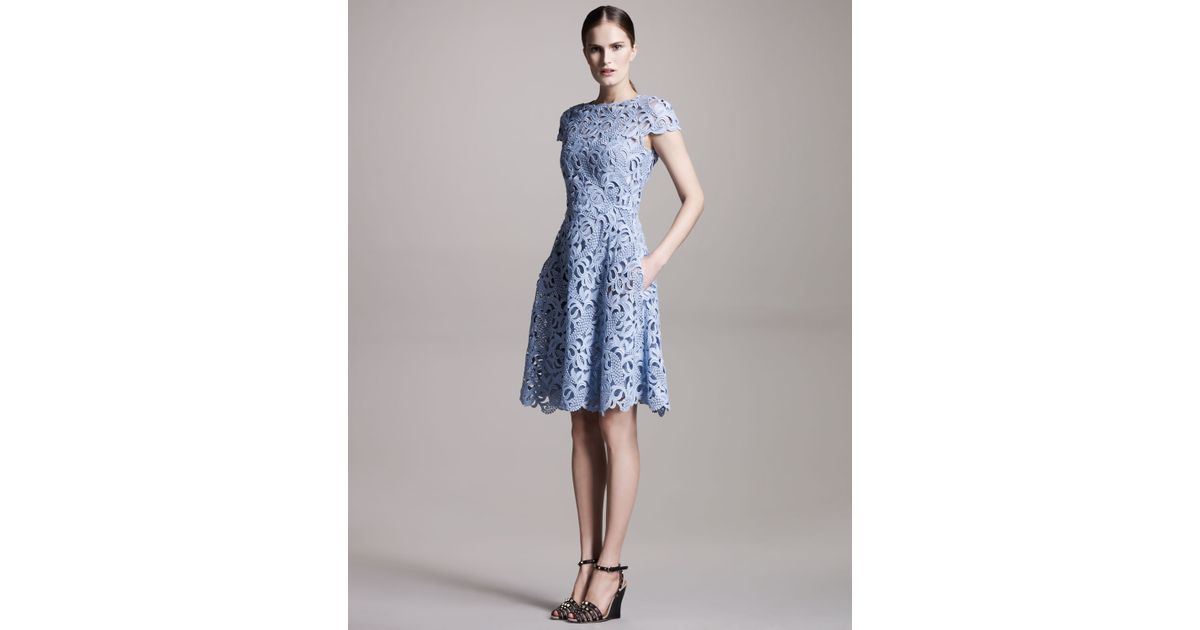 Lyst - Valentino Cap-sleeve Lace Dress in Blue