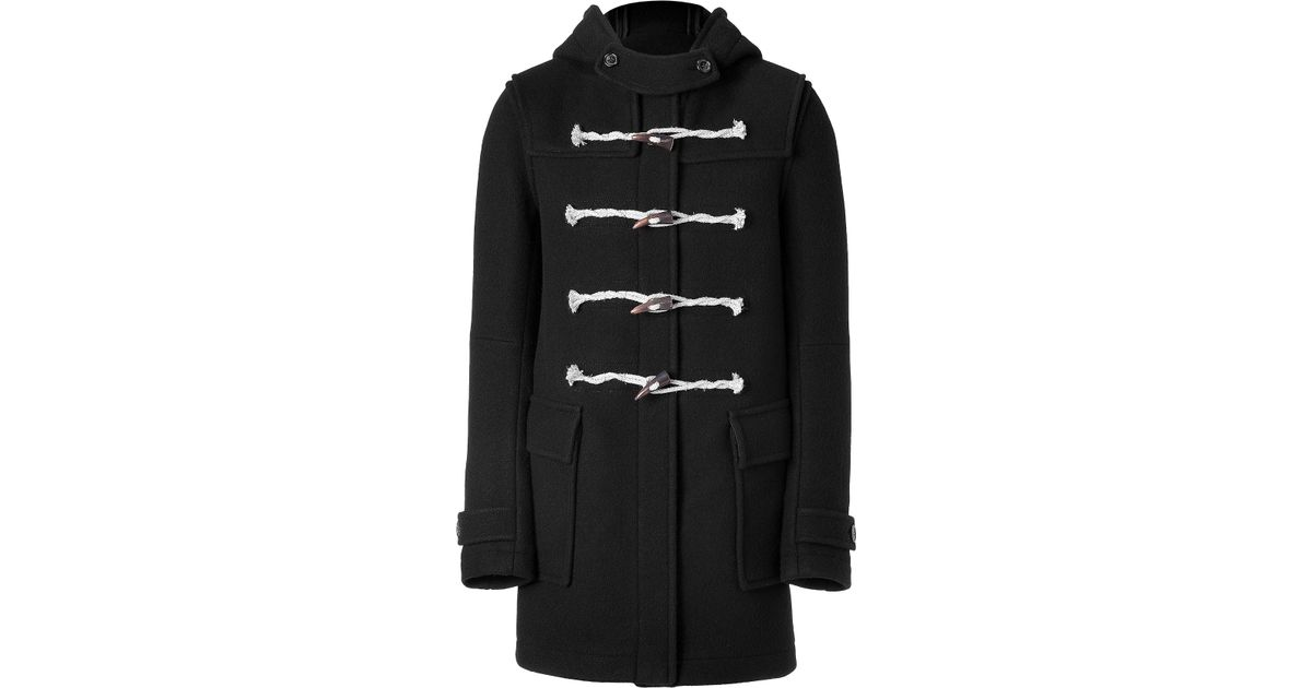 Balmain Black Duffle Coat with Horn Buttons in Black for Men | Lyst