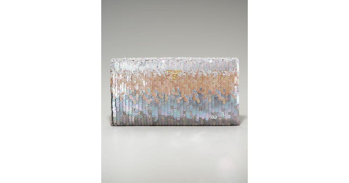 04bf2499607a Prada Paillettes Clutch in Metallic - Lyst