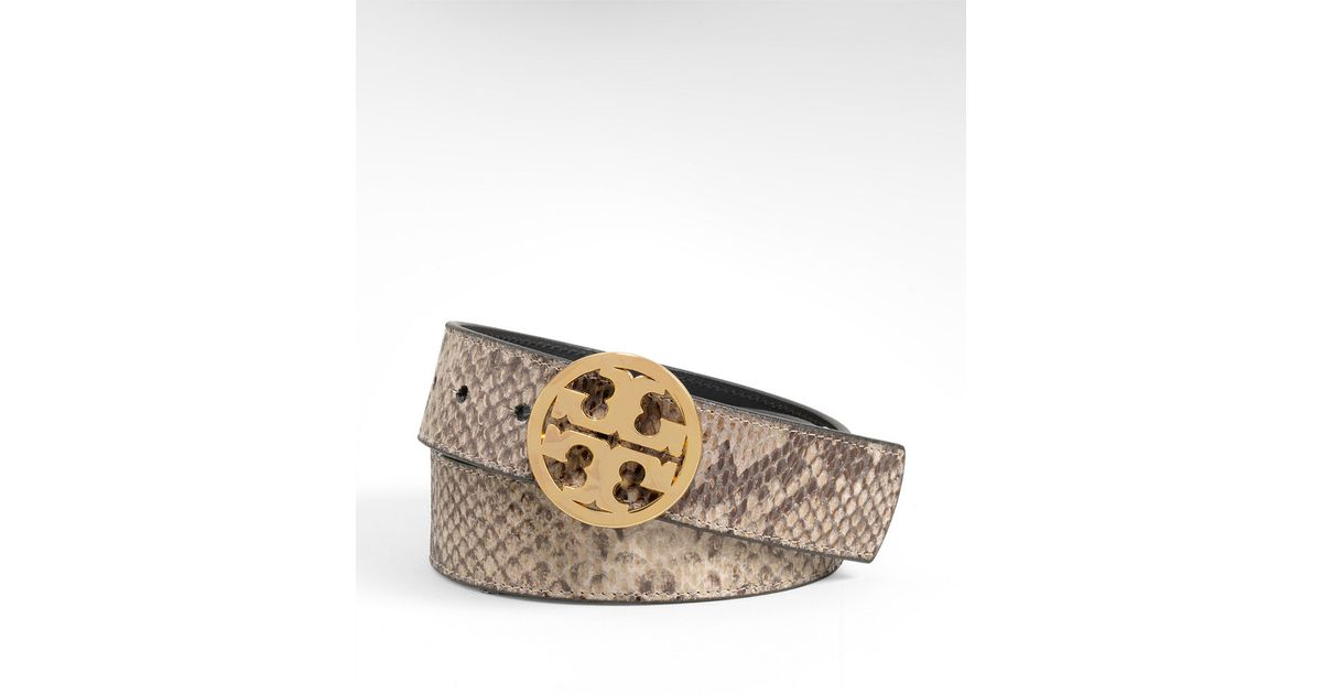 Tory burch Python Reversible Logo Belt in Beige (natural) | Lyst