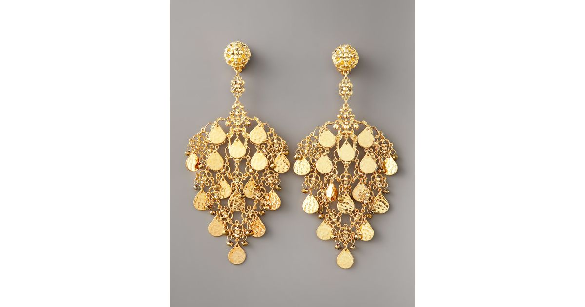 Jose & maria barrera Gold Filigree Chandelier Earrings in Metallic ...