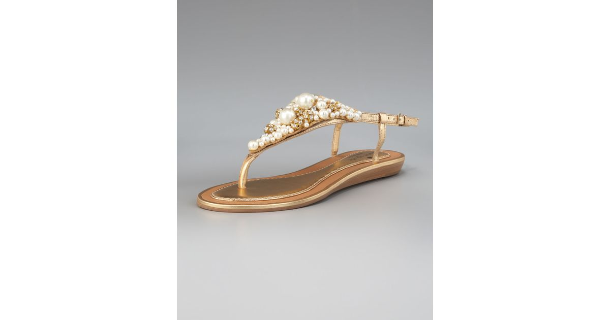 174a29e1405963 Lyst - Kate Spade Imani Bead   Crystal Thong Sandal in Metallic