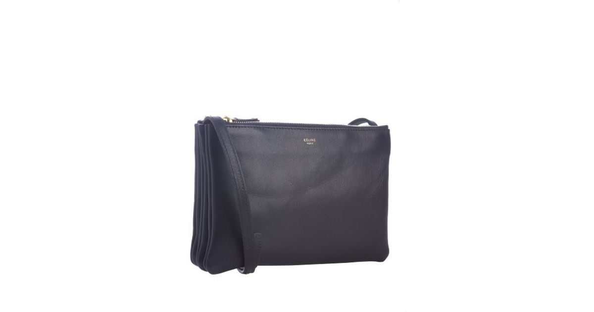 0ab7c5b5c7 C¨¦line Navy Lambskin Trio Crossbody Bag in Blue (navy)
