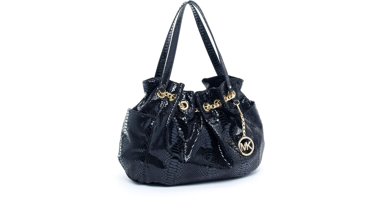 6cb606789553 Michael Kors Jet Set Chain Ring Tote, Patent Python-embossed Black in Black  - Lyst