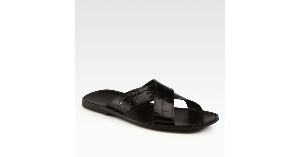 ea5f7ee14 Lyst - Prada Criss Cross Sandals in Black for Men