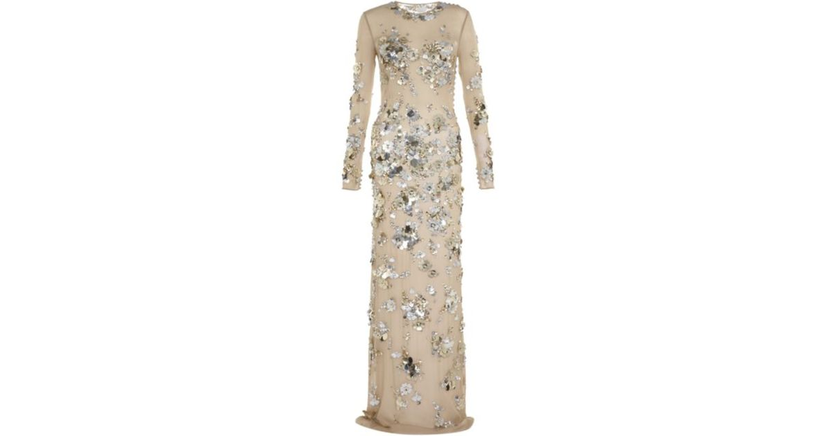 Azzaro Sheer Sequin Dress in Natural | Lyst