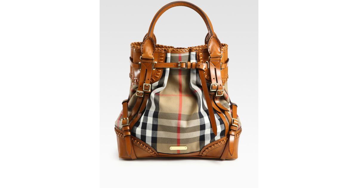 8e9085c9eb0e Lyst - Burberry Prorsum Whipstitch Leather   Check Canvas Tote Bag in Brown