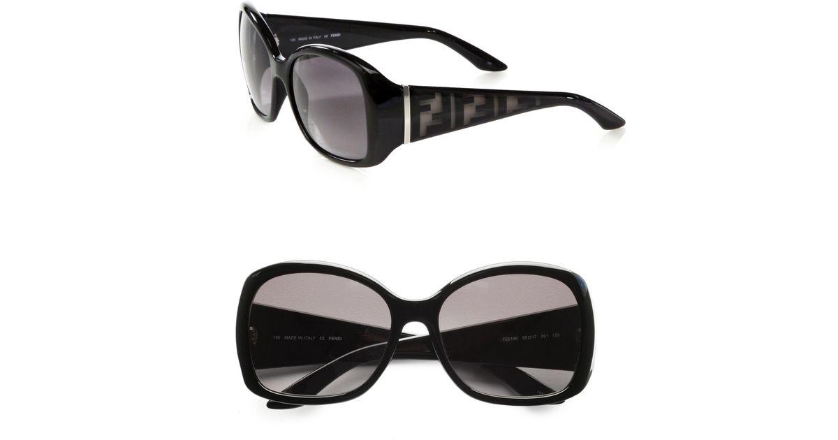 9fcefba894d Lyst - Fendi Zucca Logo Accented Glam Oval Plastic Sunglasses in Black