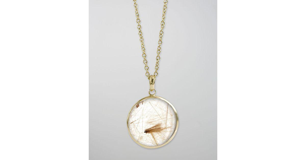 Lyst ippolita rutilated quartz pendant necklace in metallic mozeypictures Images