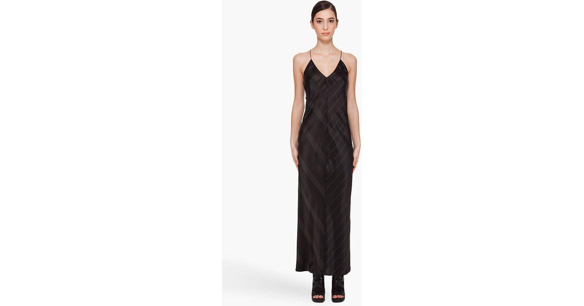 1a38a9e8bea17 T By Alexander Wang Striped Silk Slip Dress in Black - Lyst