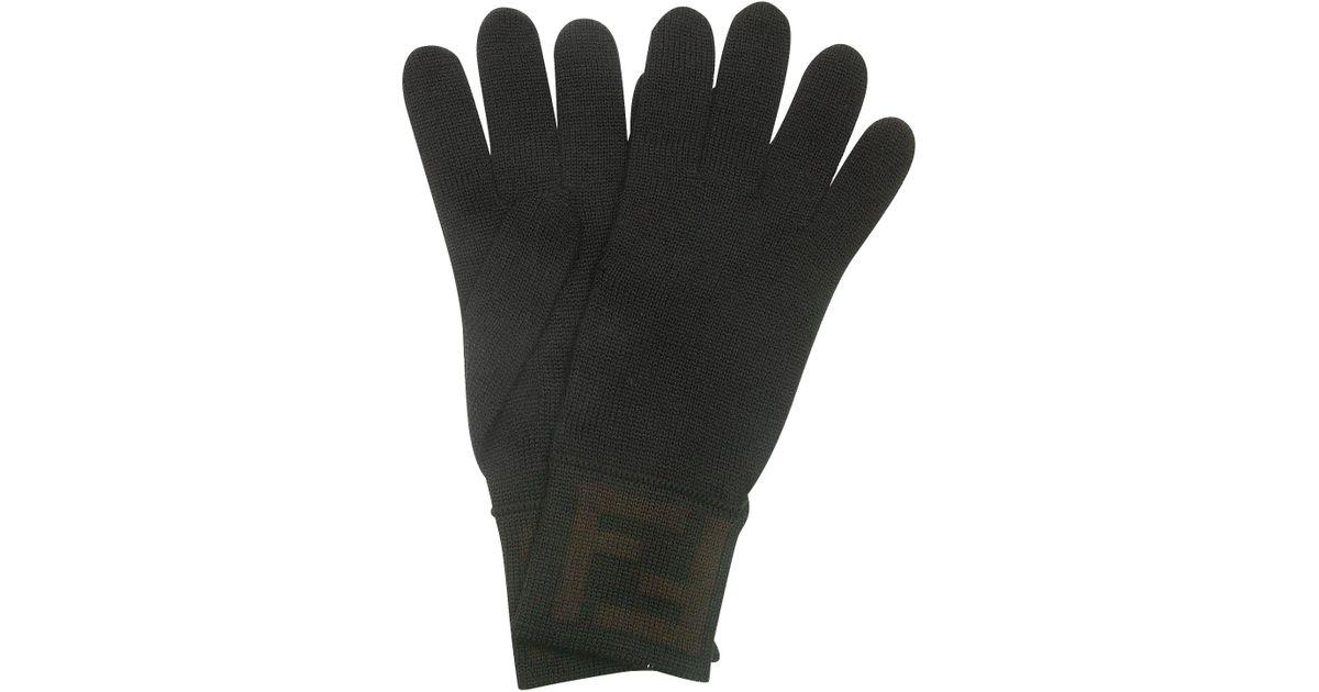 3a381146f526 Lyst - Fendi Mens Black   Brown Macro Zucca Logo Cuff Wool Gloves in Black  for Men