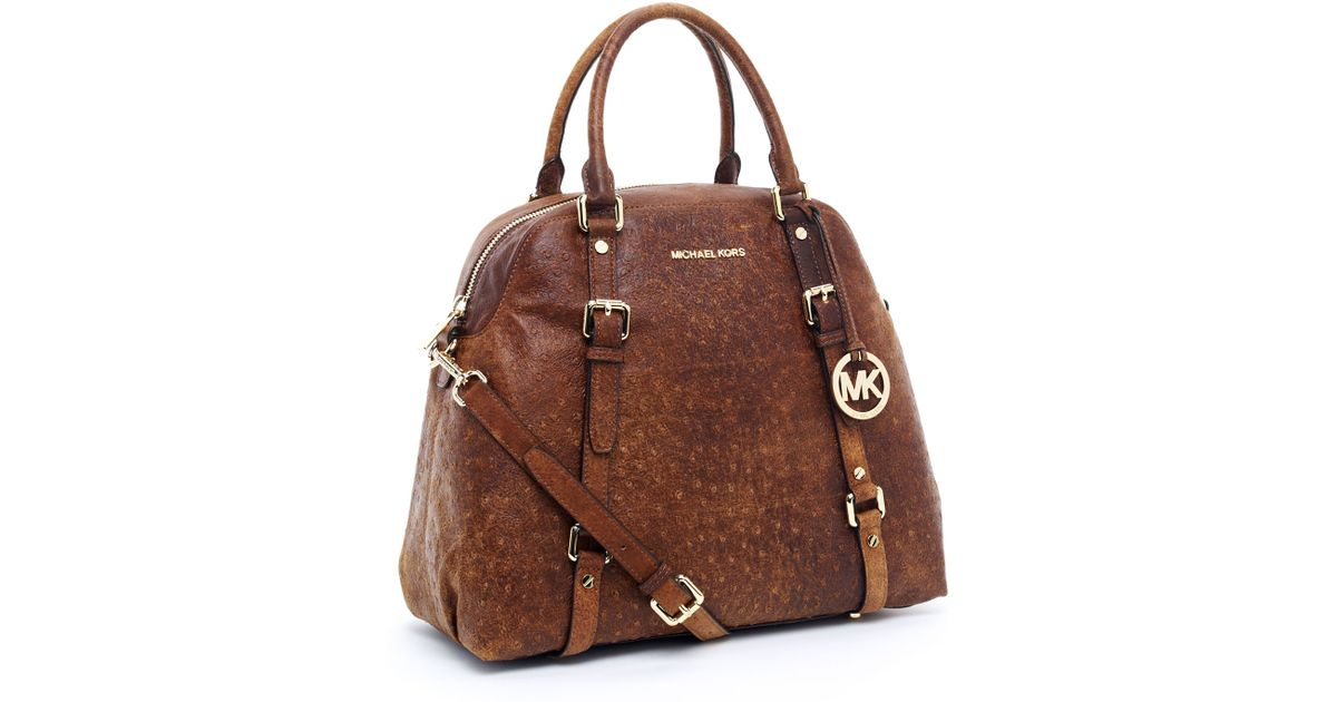 71054f95e983 Michael Kors Bedford Extra-Large Bowling Satchel, Mocha Ostrich in Brown -  Lyst