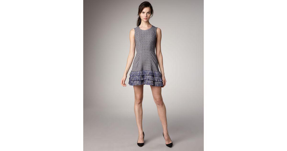 91db8211bb Theyskens' Theory Fringe-hem Tweed Dress in Blue - Lyst
