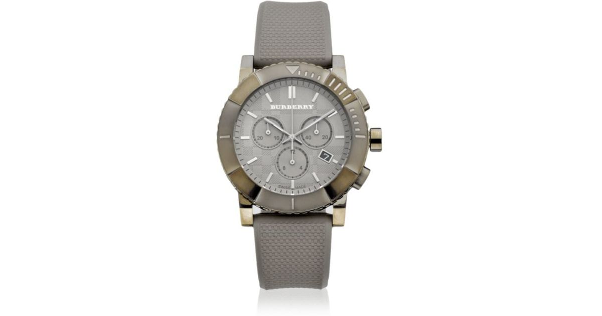 burberry mens grey chronograph in gray for lyst