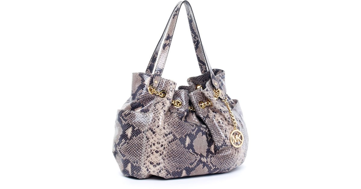 eae401e408 ... closeout lyst michael michael kors jet set python embossed chain ring  tote dark sand in gray