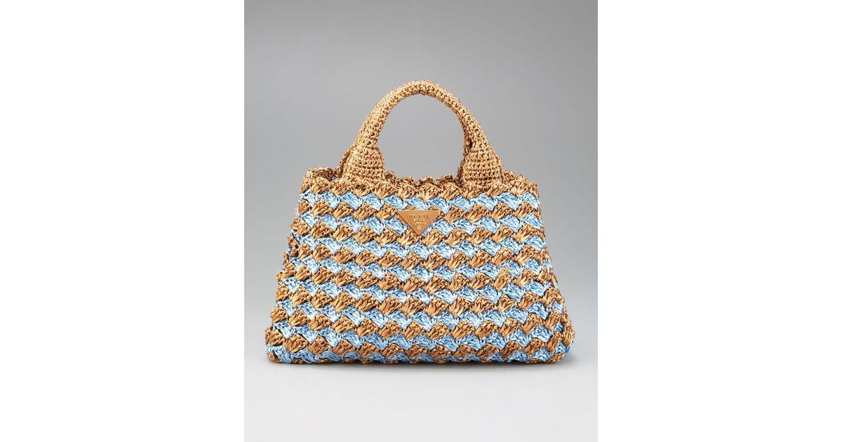 0ffe09175cb8 ... handbag tiziana fausti e0995 87bcf real lyst prada bi color crocheted raffia  tote in natural c325a c7583 ...