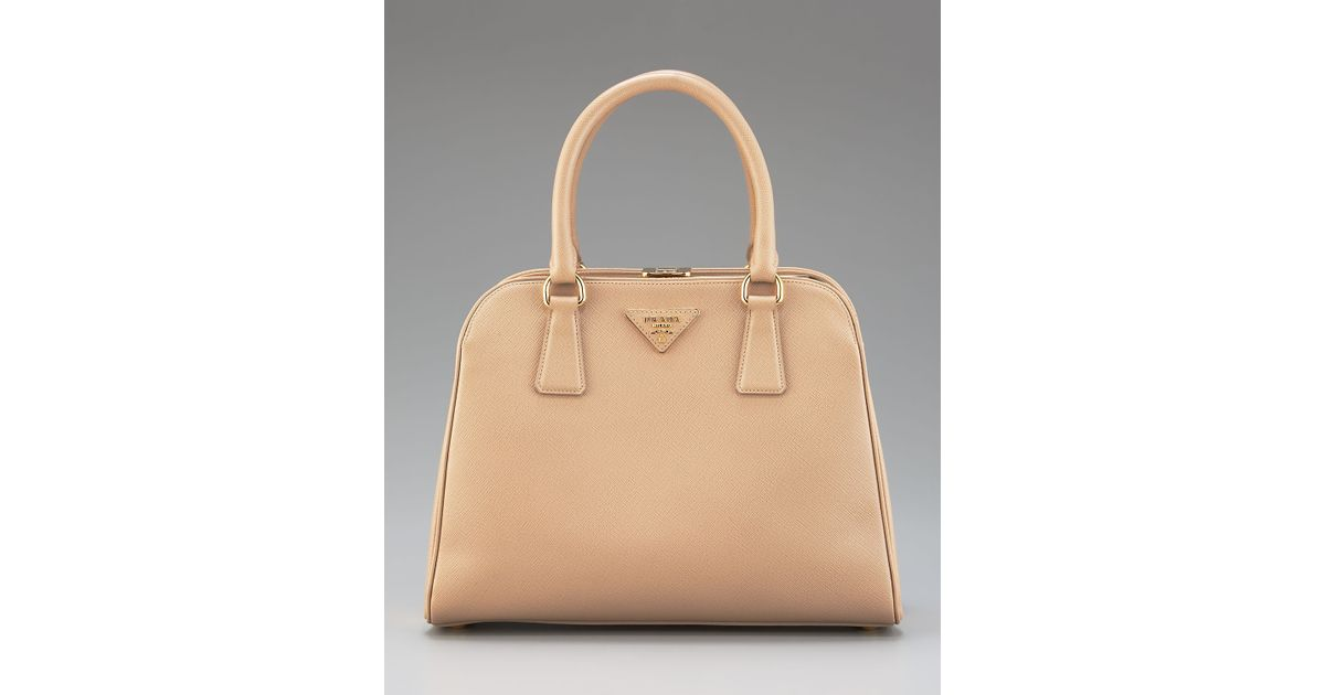 aaa7363fdc2d9b low cost lyst prada saffiano lux tote in natural e7a6c 2a7c4