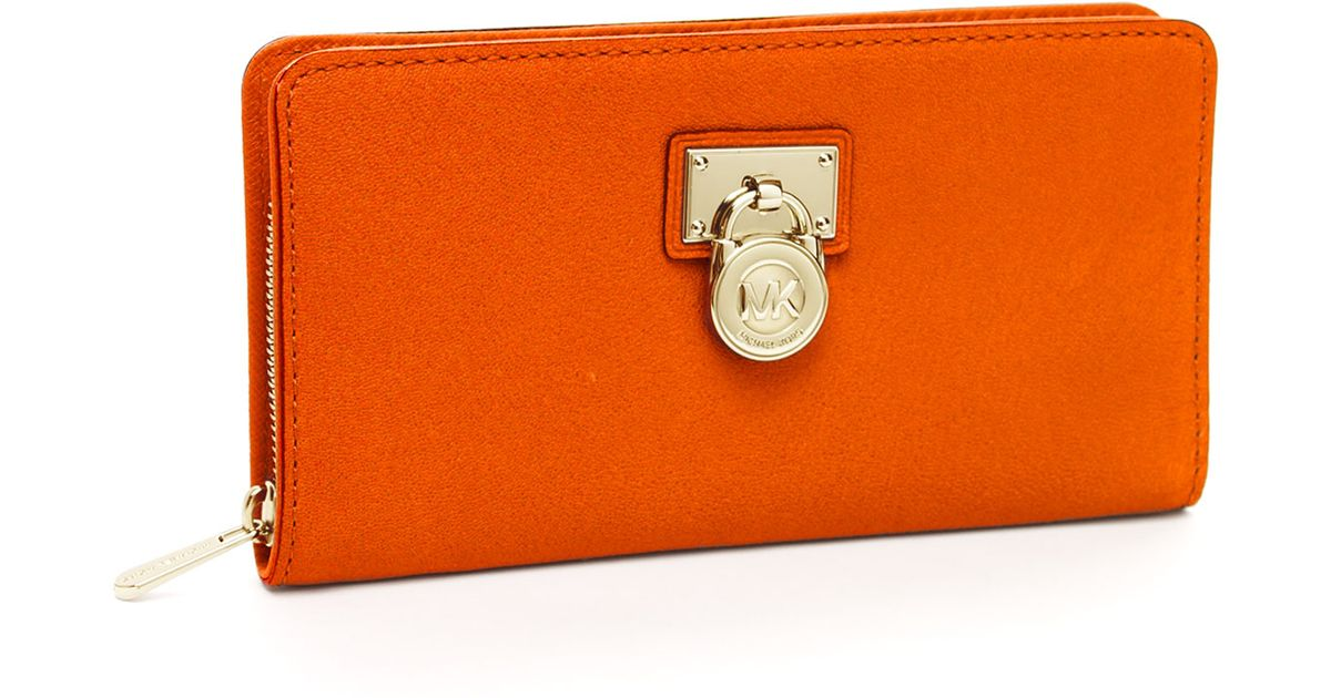 70c586652a69f1 ... wholesale lyst michael michael kors hamilton large continental wallet  in orange 862b6 04906