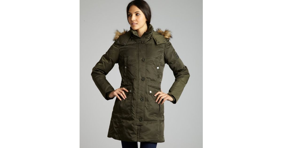 London fog Army Green Quilted Faux Fur Hooded Down Coat in Green