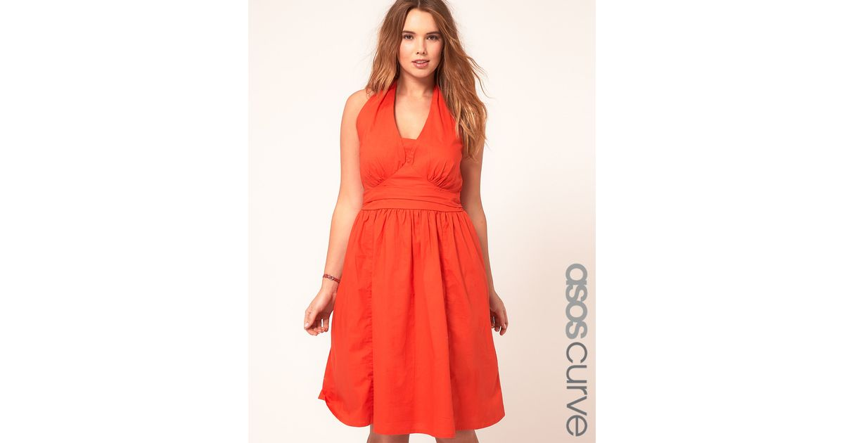 233d55dd8353 ASOS Curve Summer Dress With Halterneck in Red - Lyst