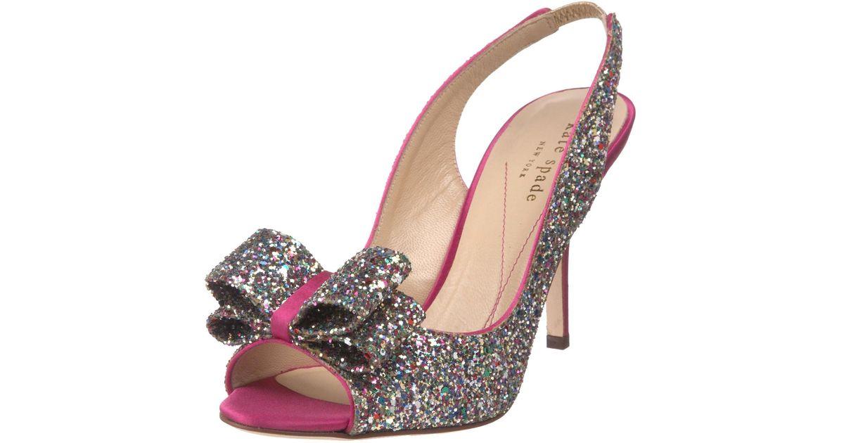 kate spade charm slingback pumps in silver multi glitter