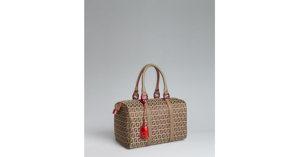 d2338fbc8a Fendi Beige Zucchino Canvas Leather Trimmed Small Forever Bag in Natural -  Lyst
