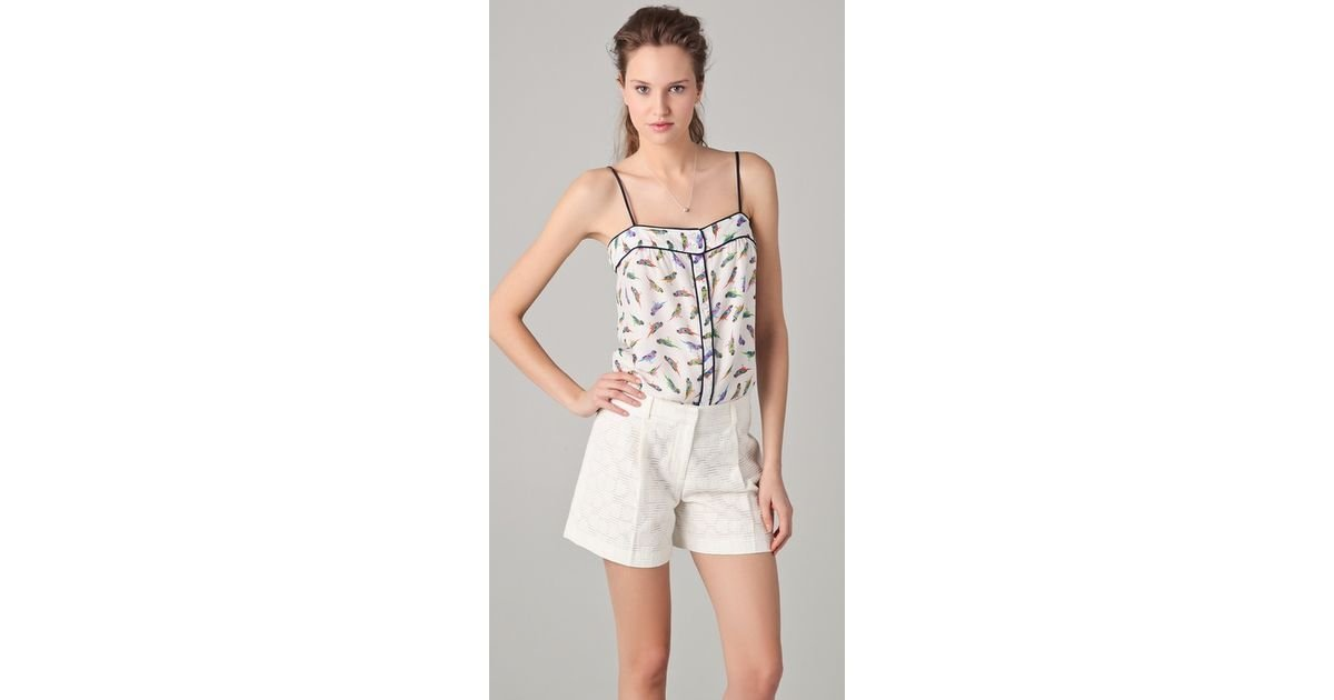 79eed36477a15a Lyst - MILLY Parakeet Print Caroline Camisole