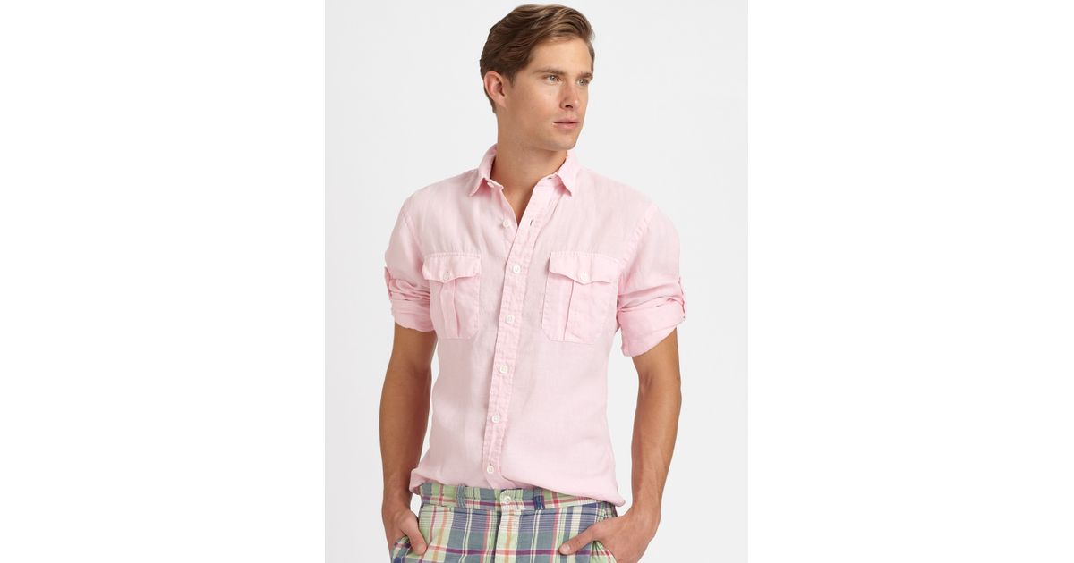 7f73184e9 ... australia lyst polo ralph lauren classicf fit washed linen military  shirt in pink for men 0c71c