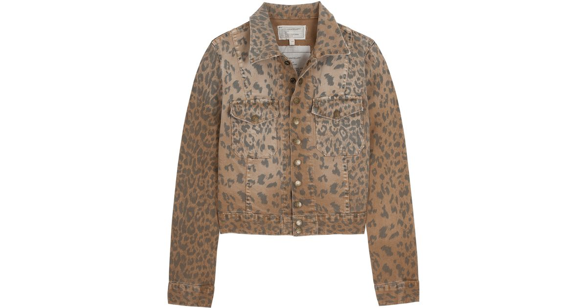 094e6f93c Lyst - Current Elliott Snap Leopard Print Denim Jacket