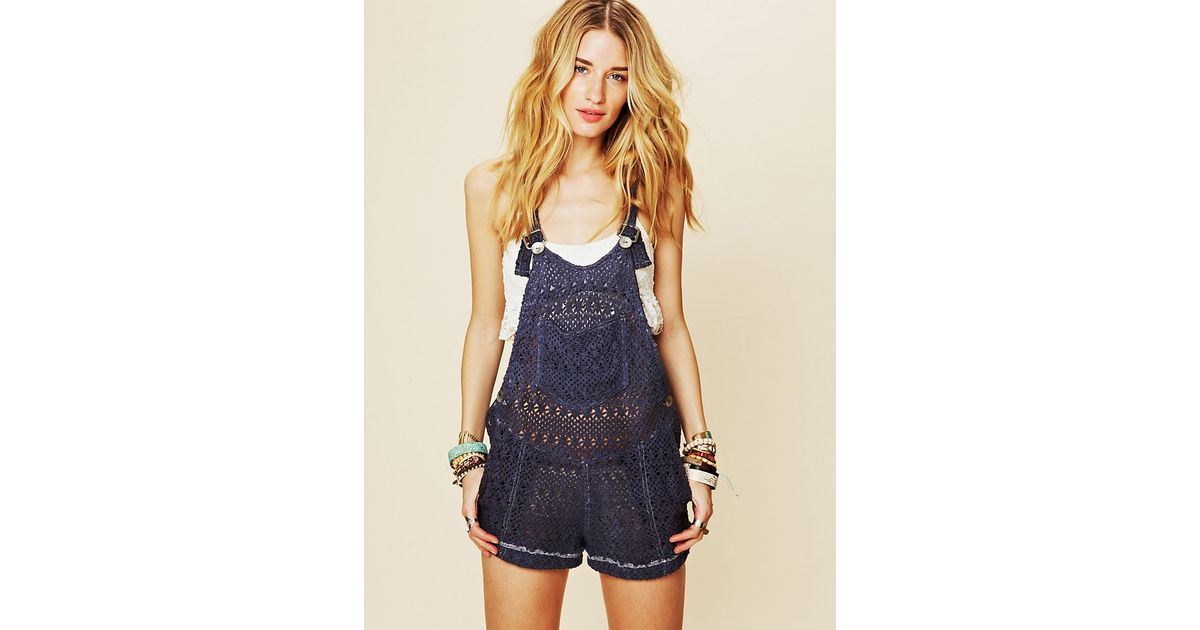 cd6ed0543f Lyst - Free People Punky Brewster Playsuit in Blue