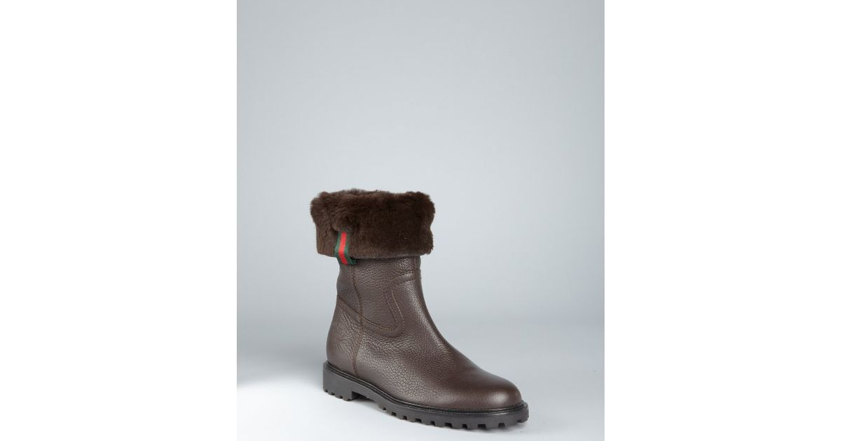 62614f372c05 Lyst - Gucci Chocolate Leather and Rabbit Fur Boots in Brown