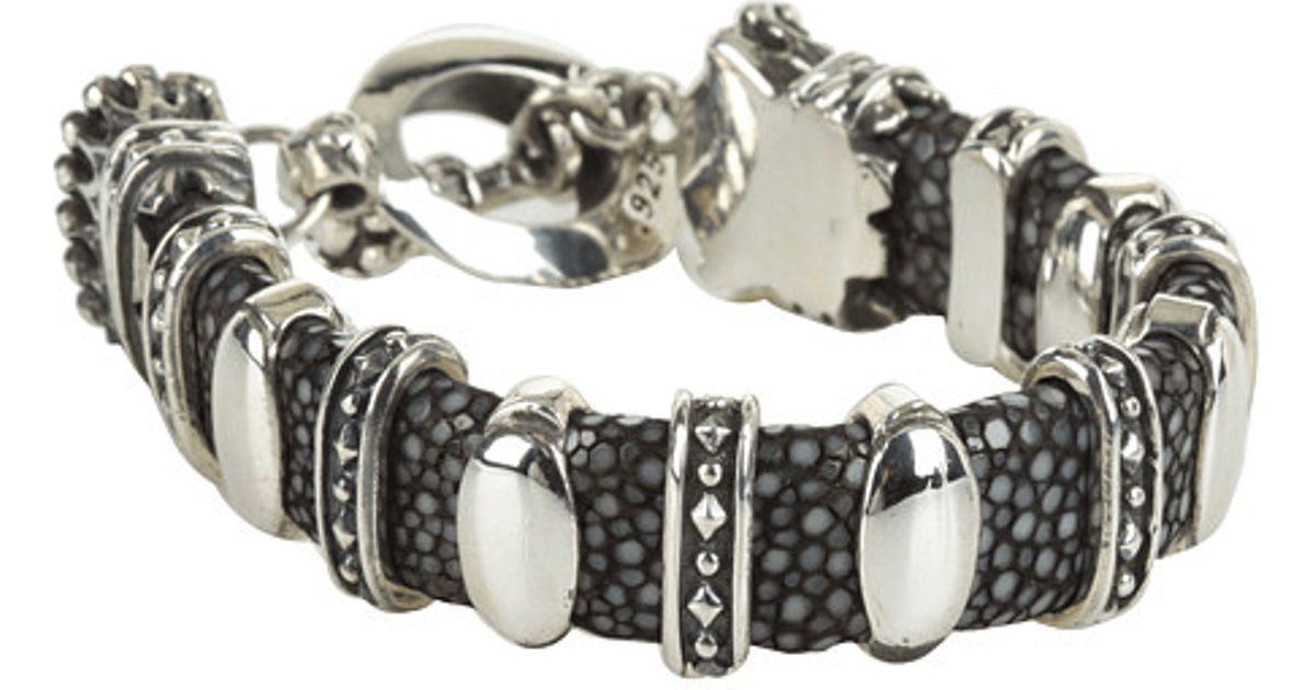 Lyst King Baby Studio Black Stingray Bracelet With 11 Silver Links In Metallic For Men