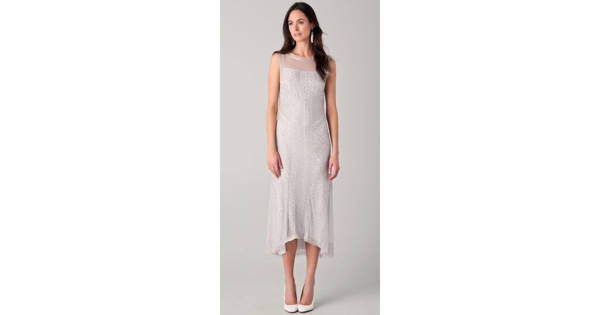 Lyst Philosophy Di Alberta Ferretti Tea Length Dress With All Over