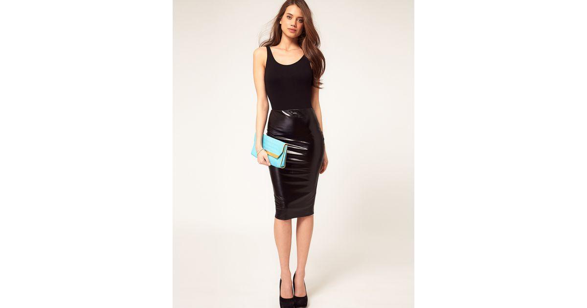 d753ee86a2cf7 ASOS Asos Pencil Skirt in Wet Look in Black - Lyst