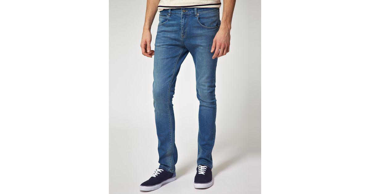 asos extreme super skinny jeans with panel detail in dark wash in blue. Black Bedroom Furniture Sets. Home Design Ideas