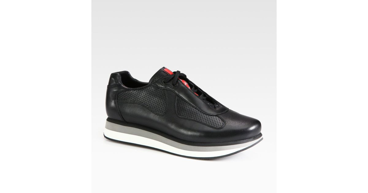 2230559c14009 12345678 7e25f ecfd4  reduced lyst prada americas cup perforated leather  sneakers in black for men caf47 bea93
