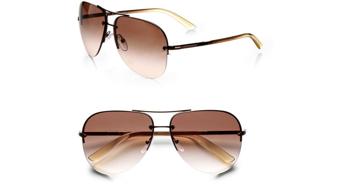 73ae242a0 Prada Rimless Aviator Sunglasses in Brown - Lyst