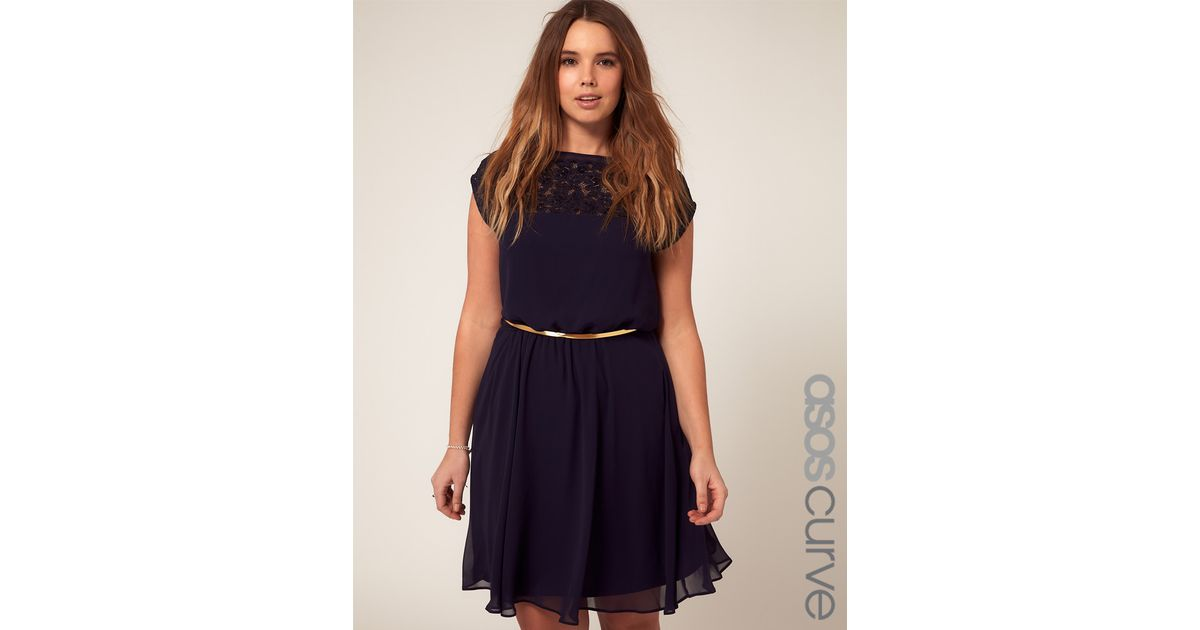 Lyst - Asos Asos Curve Skater Dress with Daisy Lace in Blue 8f11a9302