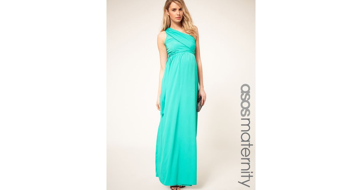 Lyst - Asos Asos Maternity One Shoulder Maxi Dress in Green