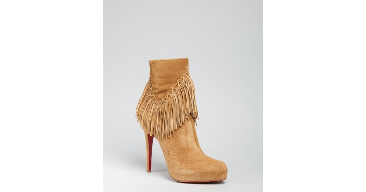 2ace5d83ec5c Lyst - Christian Louboutin Camel Suede Rom 120 Fringed Ankle Boots in Brown