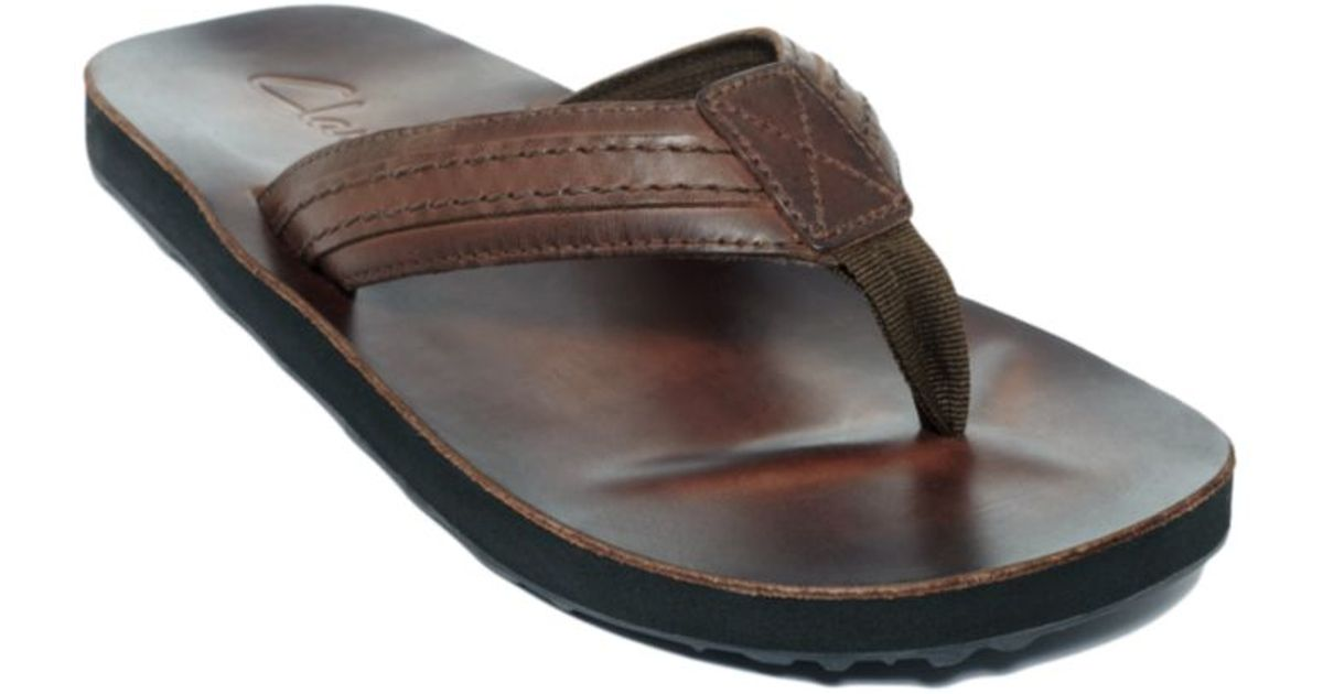 Lyst - Clarks Jay Leather Flip Flop Sandals In Brown For Men-6108