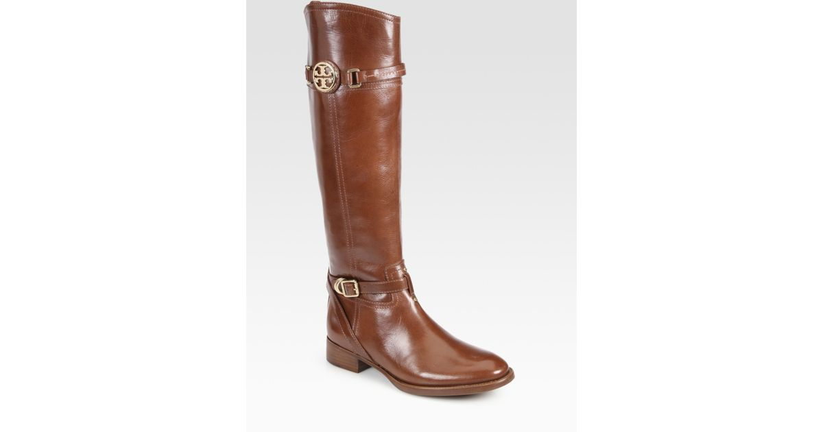 1f7fe9f11ffe Lyst - Tory Burch Calista Leather Riding Boots in Brown