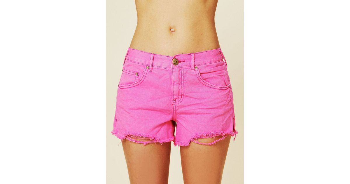 Free people Colored Denim Cutoff Shorts in Pink | Lyst