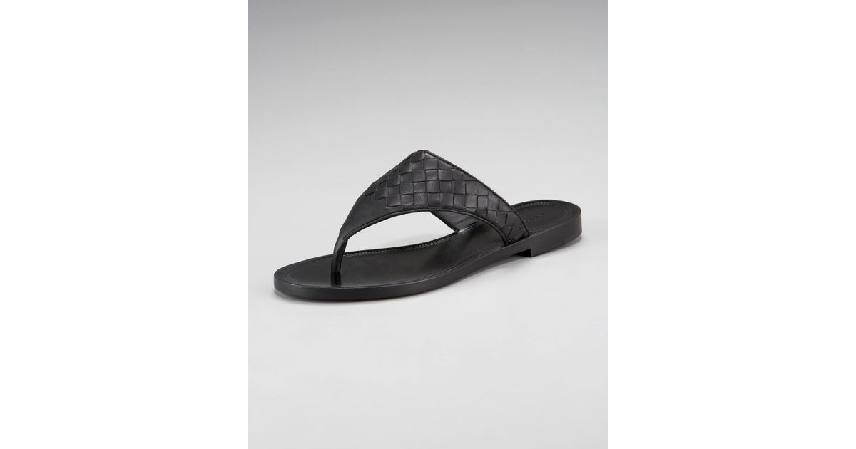 c1c69a3c78ea83 Lyst - Bottega Veneta Black Woven Leather Thong Sandals in Black
