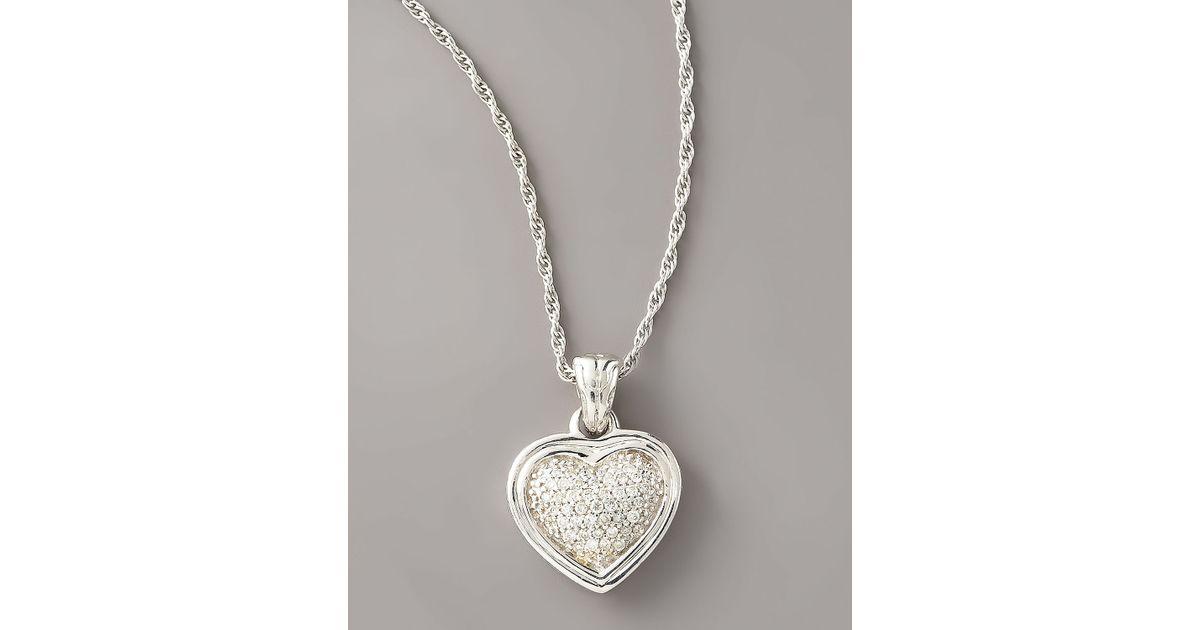 Lyst john hardy diamond heart pendant necklace in metallic aloadofball Gallery