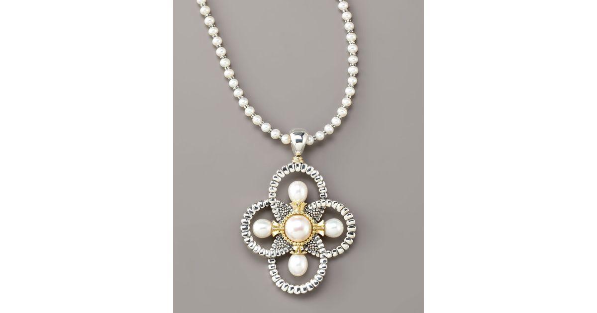 Lyst lagos luna pearl quatrefoil pendant necklace in white aloadofball Choice Image