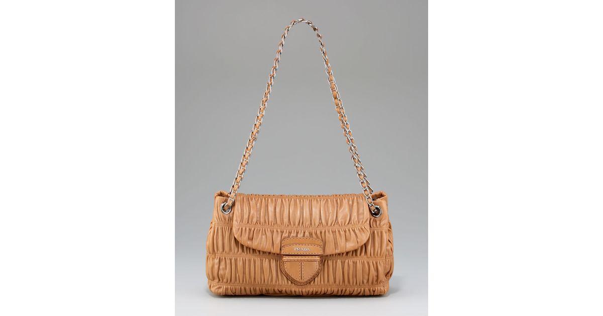 Lyst - Prada Napa Gaufre Chain Shoulder Bag, Canne in Brown 1a0b8682a6