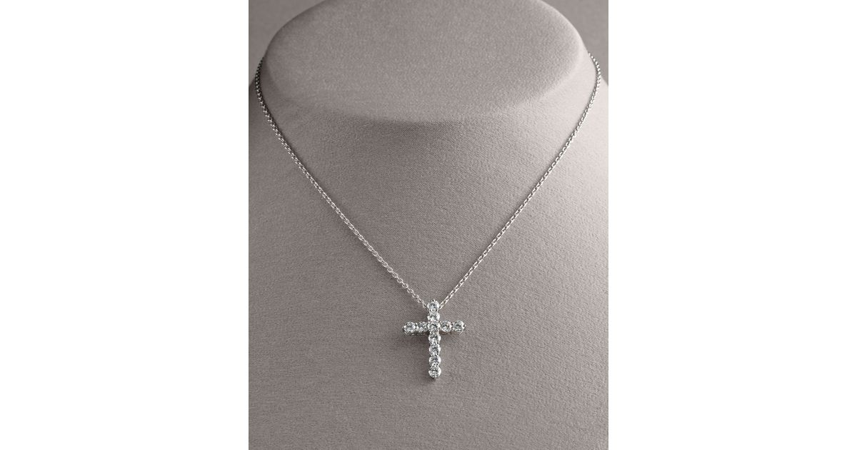Lyst roberto coin diamond cross pendant necklace large in metallic mozeypictures Image collections
